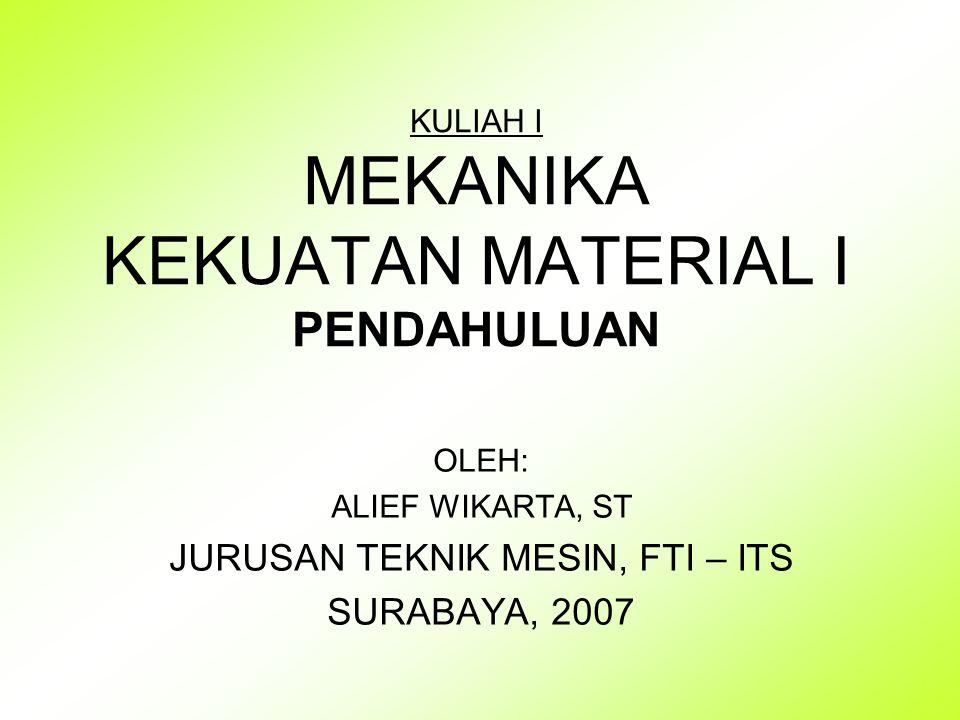 KULIAH I MEKANIKA KEKUATAN MATERIAL I PENDAHULUAN OLEH: ALIEF WIKARTA, ST JURUSAN TEKNIK MESIN, FTI – ITS SURABAYA, 2007