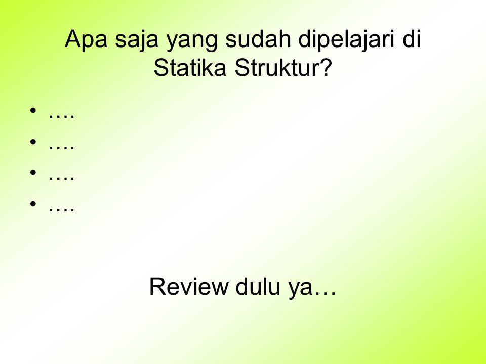 Apa saja yang sudah dipelajari di Statika Struktur? …. Review dulu ya…