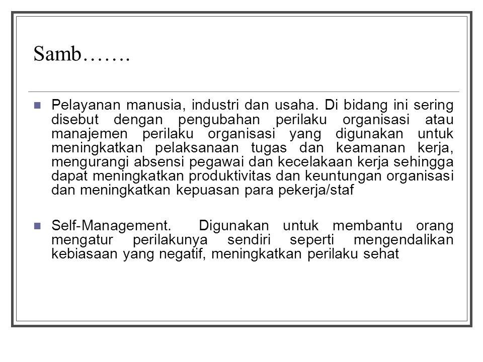 Samb……. Pelayanan manusia, industri dan usaha. Di bidang ini sering disebut dengan pengubahan perilaku organisasi atau manajemen perilaku organisasi y