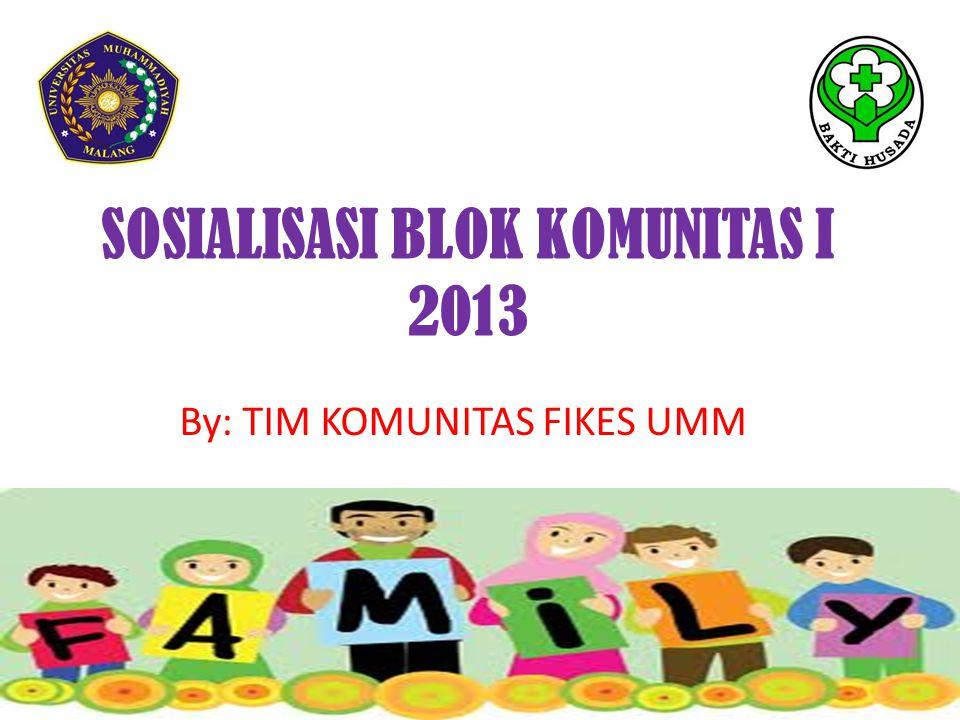 SOSIALISASI BLOK KOMUNITAS I 2013 By: TIM KOMUNITAS FIKES UMM