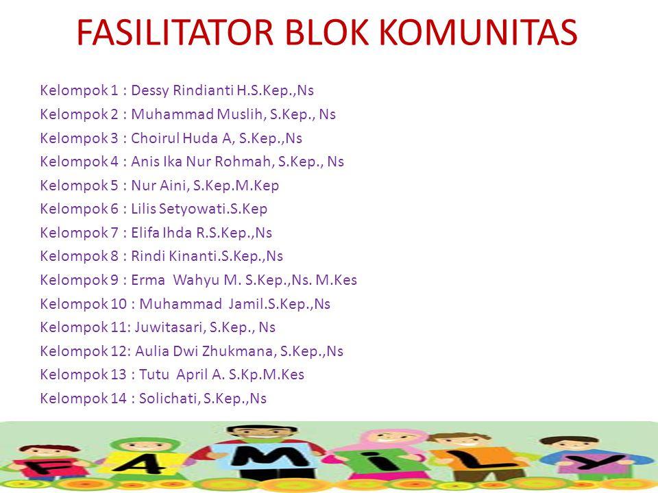 FASILITATOR BLOK KOMUNITAS Kelompok 1 : Dessy Rindianti H.S.Kep.,Ns Kelompok 2 : Muhammad Muslih, S.Kep., Ns Kelompok 3 : Choirul Huda A, S.Kep.,Ns Kelompok 4 : Anis Ika Nur Rohmah, S.Kep., Ns Kelompok 5 : Nur Aini, S.Kep.M.Kep Kelompok 6 : Lilis Setyowati.S.Kep Kelompok 7 : Elifa Ihda R.S.Kep.,Ns Kelompok 8 : Rindi Kinanti.S.Kep.,Ns Kelompok 9 : Erma Wahyu M.
