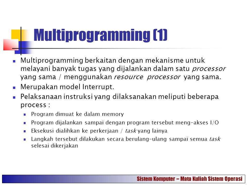 Multiprogramming (1) Multiprogramming berkaitan dengan mekanisme untuk melayani banyak tugas yang dijalankan dalam satu processor yang sama / mengguna
