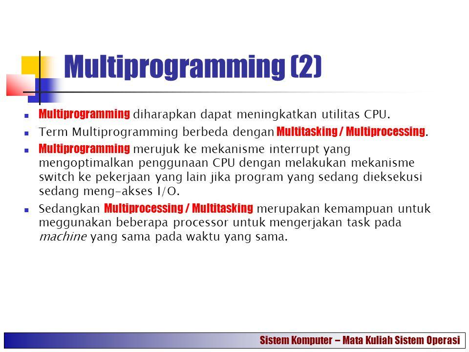 Multiprogramming (2) Multiprogramming diharapkan dapat meningkatkan utilitas CPU. Term Multiprogramming berbeda dengan Multitasking / Multiprocessing.