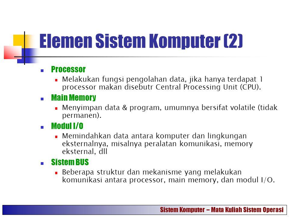 Elemen Sistem Komputer (2) Processor Melakukan fungsi pengolahan data, jika hanya terdapat 1 processor makan disebutr Central Processing Unit (CPU). M