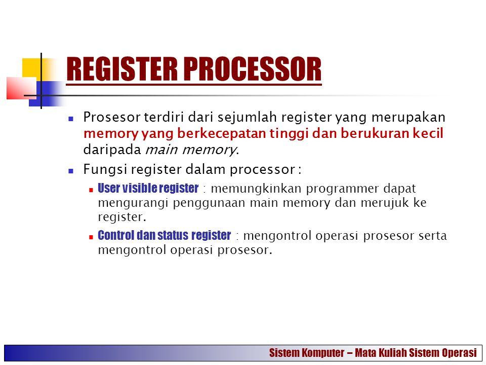REGISTER PROCESSOR Prosesor terdiri dari sejumlah register yang merupakan memory yang berkecepatan tinggi dan berukuran kecil daripada main memory. Fu