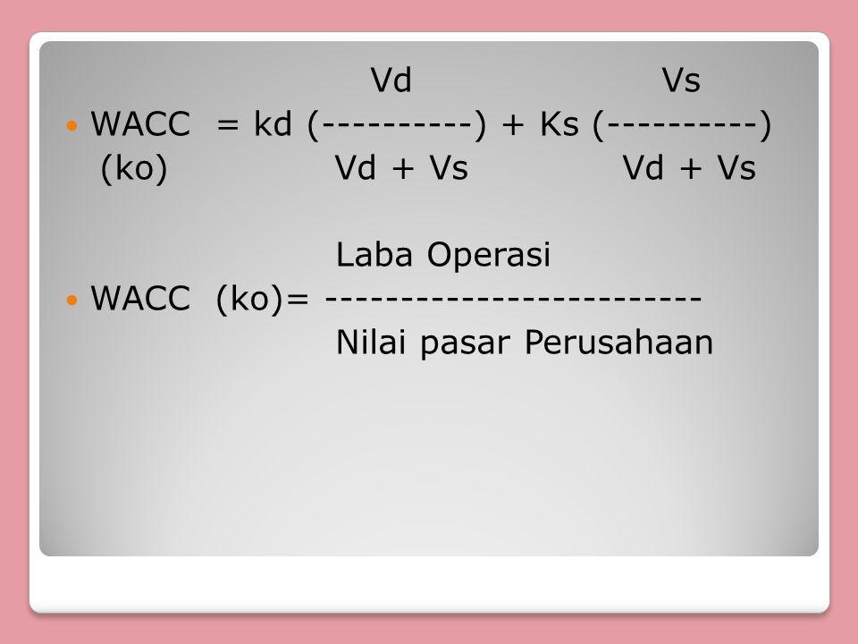 Vd Vs WACC = kd (----------) + Ks (----------) (ko) Vd + Vs Vd + Vs Laba Operasi WACC (ko)= ------------------------- Nilai pasar Perusahaan
