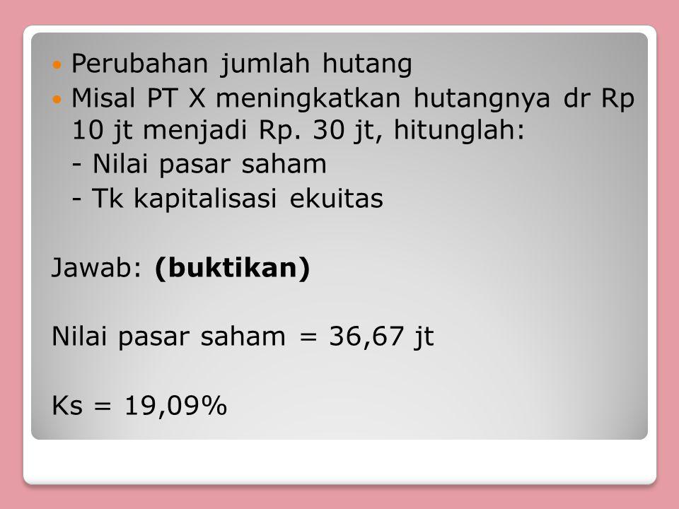 Perubahan jumlah hutang Misal PT X meningkatkan hutangnya dr Rp 10 jt menjadi Rp. 30 jt, hitunglah: - Nilai pasar saham - Tk kapitalisasi ekuitas Jawa