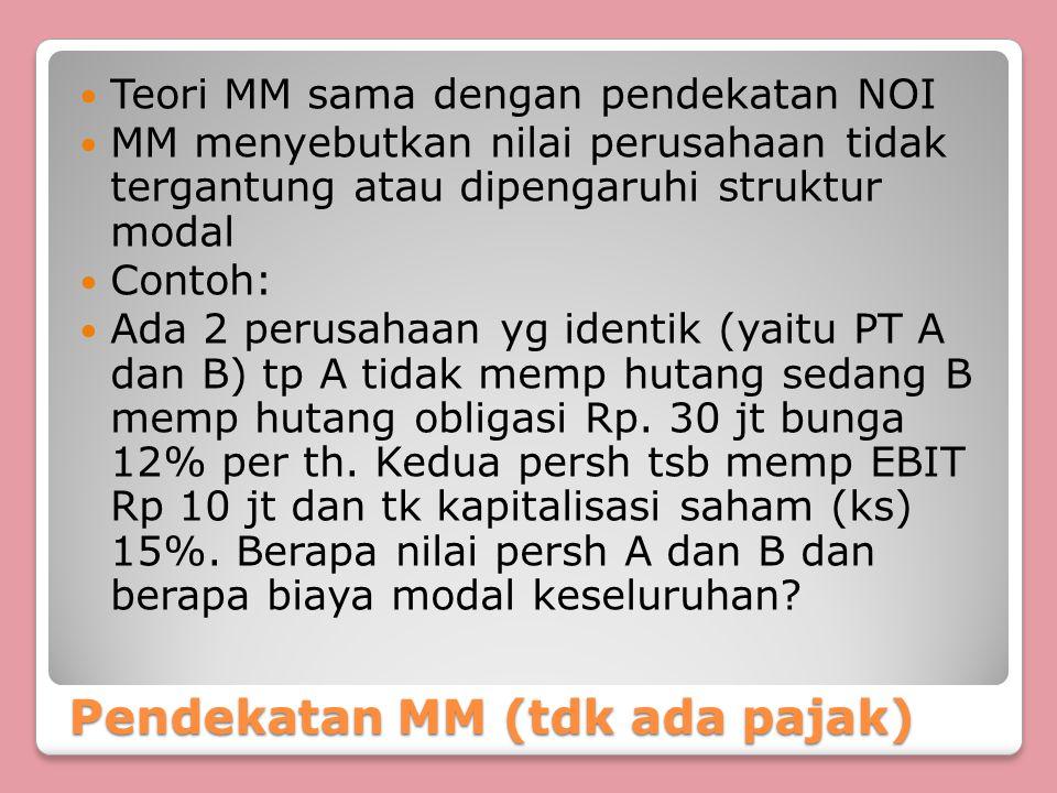 Pendekatan MM (tdk ada pajak) Teori MM sama dengan pendekatan NOI MM menyebutkan nilai perusahaan tidak tergantung atau dipengaruhi struktur modal Con