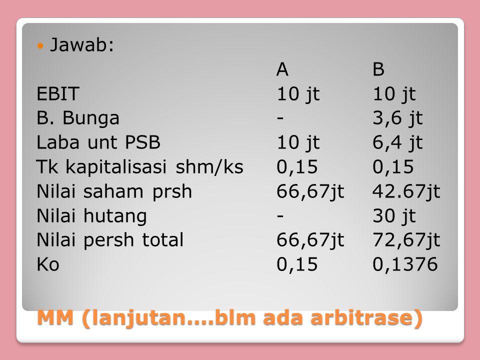 MM (lanjutan....blm ada arbitrase) MM (lanjutan....blm ada arbitrase) Jawab: AB EBIT10 jt10 jt B. Bunga-3,6 jt Laba unt PSB10 jt6,4 jt Tk kapitalisasi