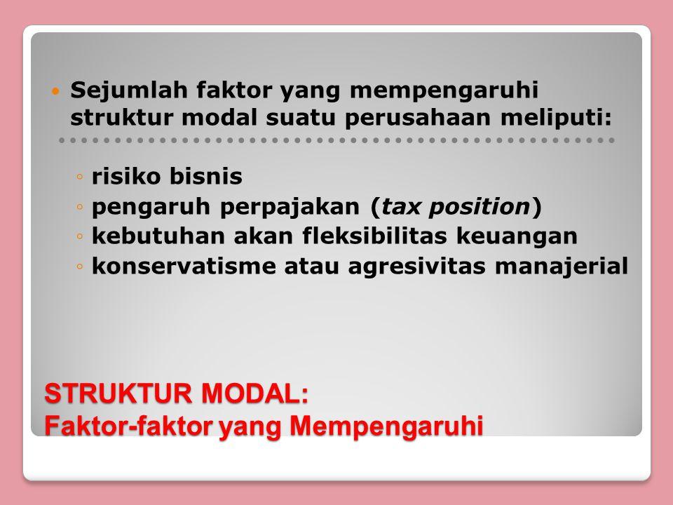 STRUKTUR MODAL: Faktor-faktor yang Mempengaruhi Sejumlah faktor yang mempengaruhi struktur modal suatu perusahaan meliputi: ◦risiko bisnis ◦pengaruh perpajakan (tax position) ◦kebutuhan akan fleksibilitas keuangan ◦konservatisme atau agresivitas manajerial