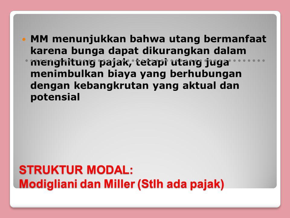 STRUKTUR MODAL: Modigliani dan Miller (Stlh ada pajak) MM menunjukkan bahwa utang bermanfaat karena bunga dapat dikurangkan dalam menghitung pajak, tetapi utang juga menimbulkan biaya yang berhubungan dengan kebangkrutan yang aktual dan potensial