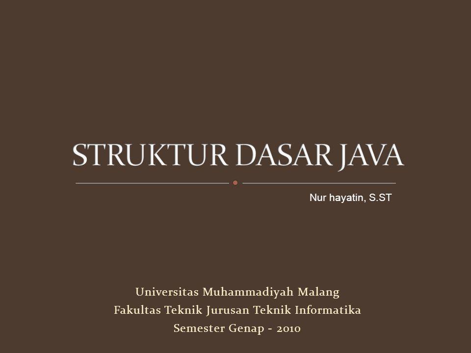 Mahasiswa dapat : Memahami struktur dasar Java Memahami tipe data String