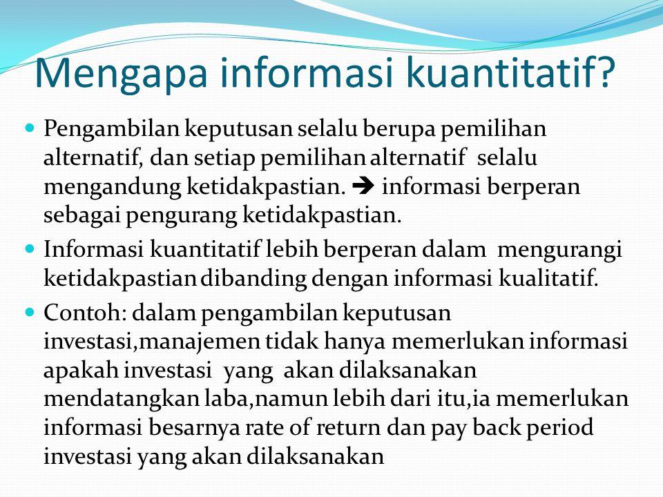 Mengapa informasi kuantitatif.