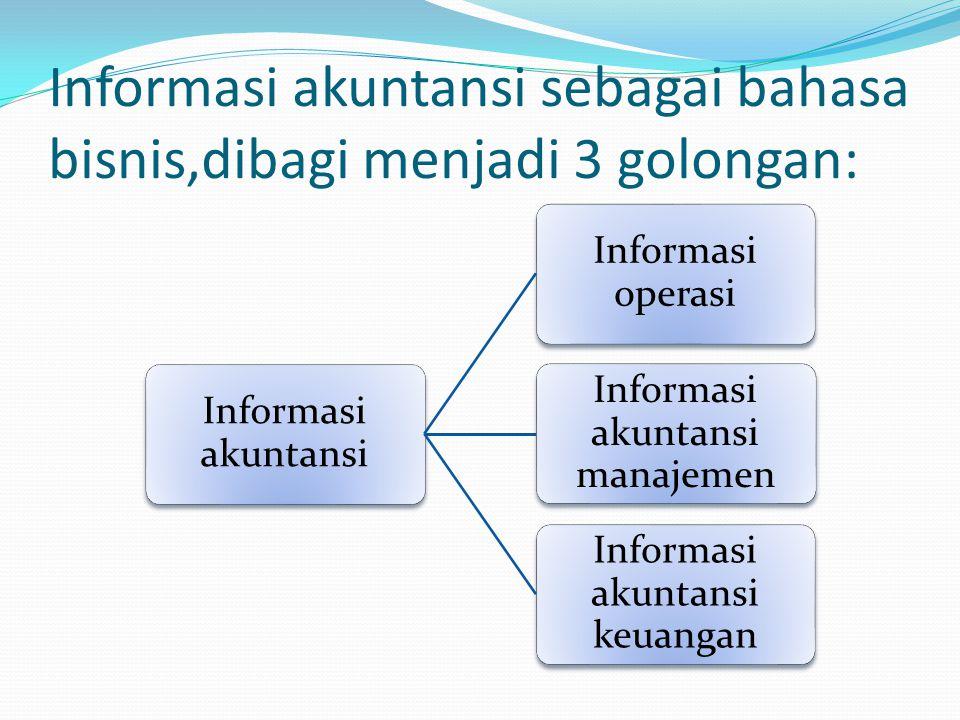 Informasi akuntansi sebagai bahasa bisnis,dibagi menjadi 3 golongan: Informasi akuntansi Informasi operasi Informasi akuntansi manajemen Informasi akuntansi keuangan