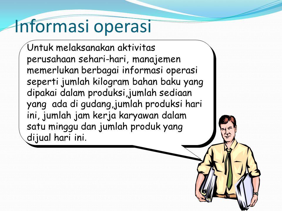 Informasi operasi Untuk melaksanakan aktivitas perusahaan sehari-hari, manajemen memerlukan berbagai informasi operasi seperti jumlah kilogram bahan b