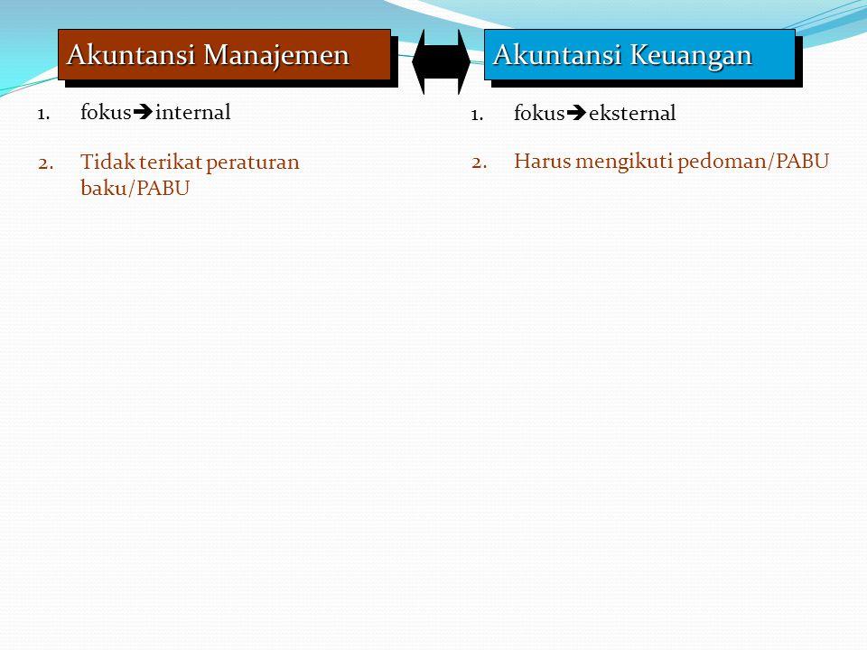 Akuntansi Manajemen Akuntansi Keuangan 1.fokus  internal 1.fokus  eksternal 2.Tidak terikat peraturan baku/PABU 2.Harus mengikuti pedoman/PABU