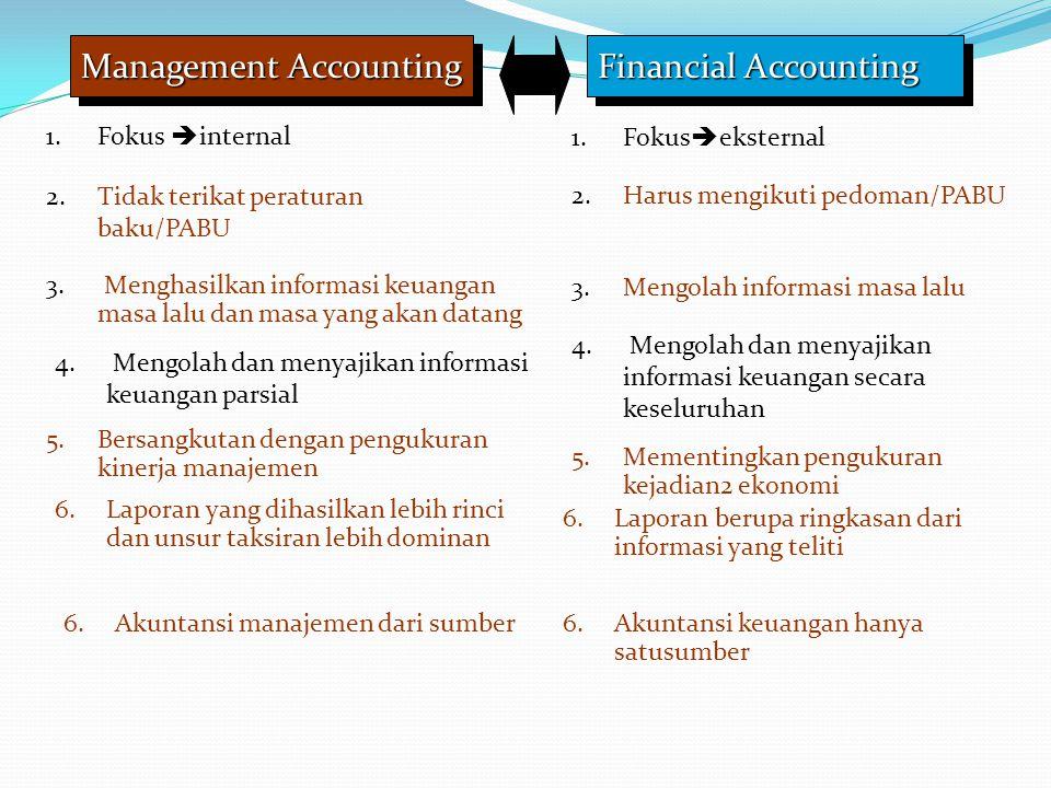 Management Accounting Financial Accounting 1.Fokus  internal 1.Fokus  eksternal 2.Tidak terikat peraturan baku/PABU 2.Harus mengikuti pedoman/PABU 3.