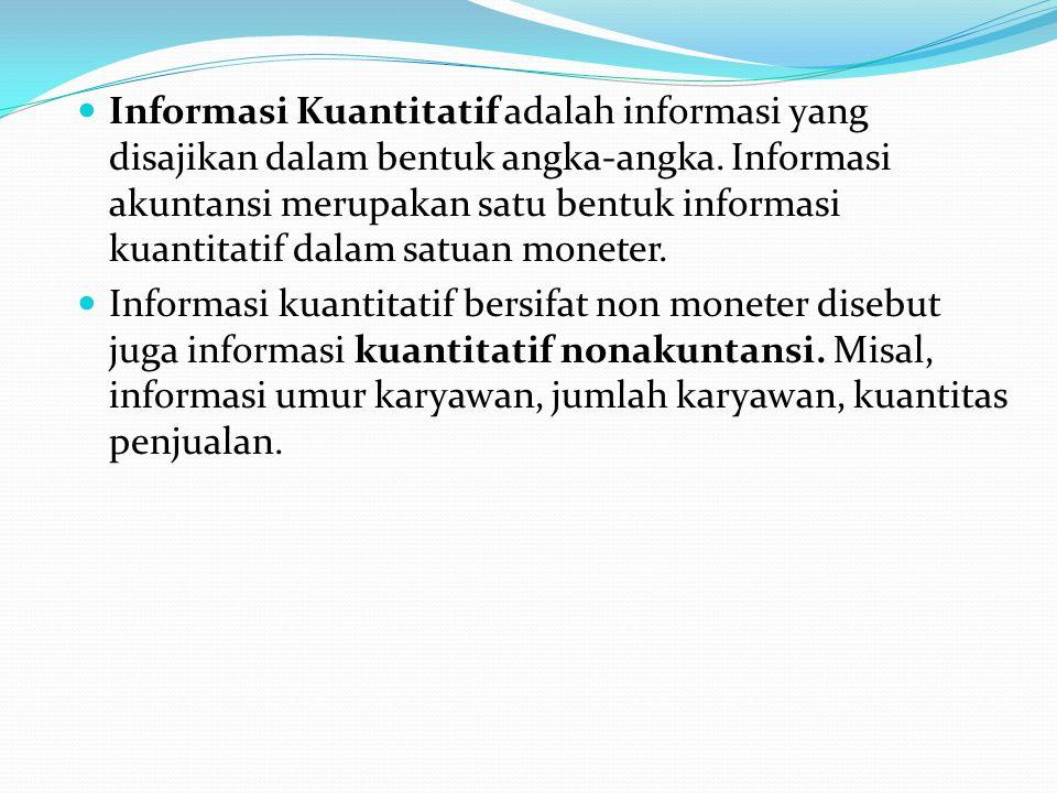 Informasi Kuantitatif adalah informasi yang disajikan dalam bentuk angka-angka.