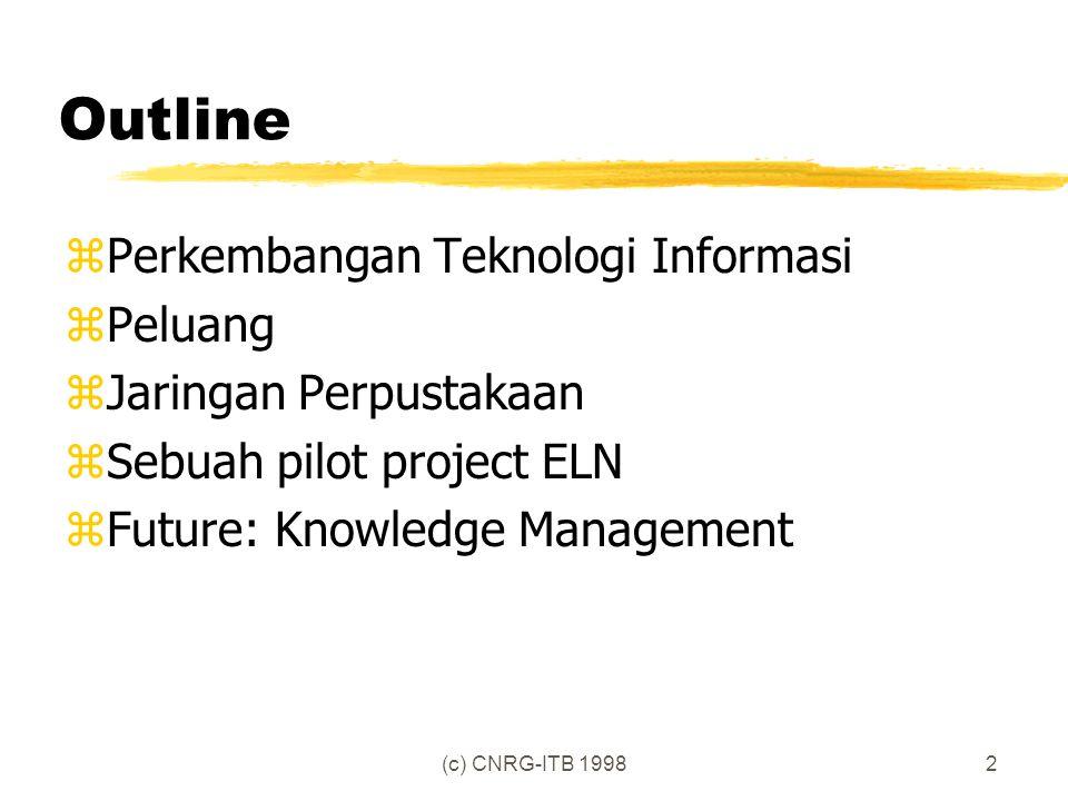 (c) CNRG-ITB 19982 Outline zPerkembangan Teknologi Informasi zPeluang zJaringan Perpustakaan zSebuah pilot project ELN zFuture: Knowledge Management