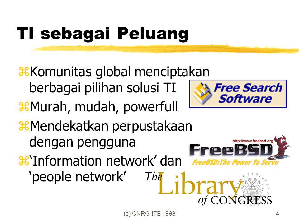 (c) CNRG-ITB 19984 TI sebagai Peluang zKomunitas global menciptakan berbagai pilihan solusi TI zMurah, mudah, powerfull zMendekatkan perpustakaan dengan pengguna z'Information network' dan 'people network'