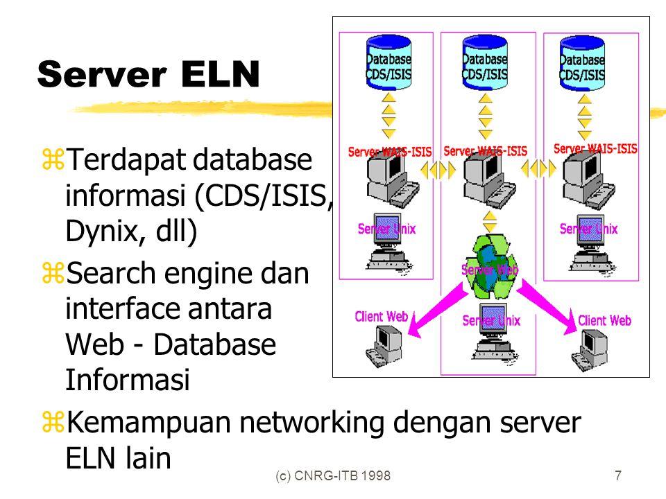 (c) CNRG-ITB 19988 Anggota ELN (pilot project) http://www.lib.ITB.ac.id/ isis/cat-map.html