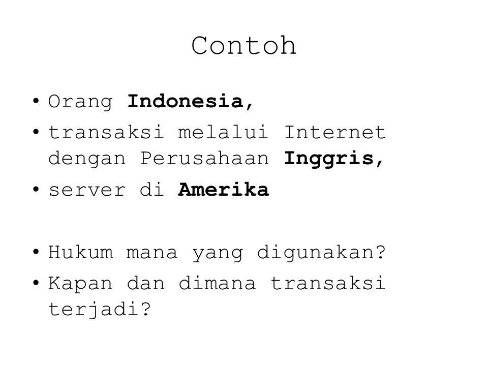 Contoh Orang Indonesia, transaksi melalui Internet dengan Perusahaan Inggris, server di Amerika Hukum mana yang digunakan.