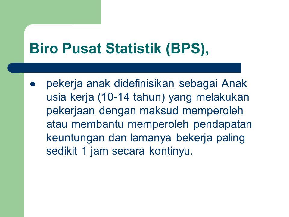 Biro Pusat Statistik (BPS), pekerja anak didefinisikan sebagai Anak usia kerja (10-14 tahun) yang melakukan pekerjaan dengan maksud memperoleh atau me