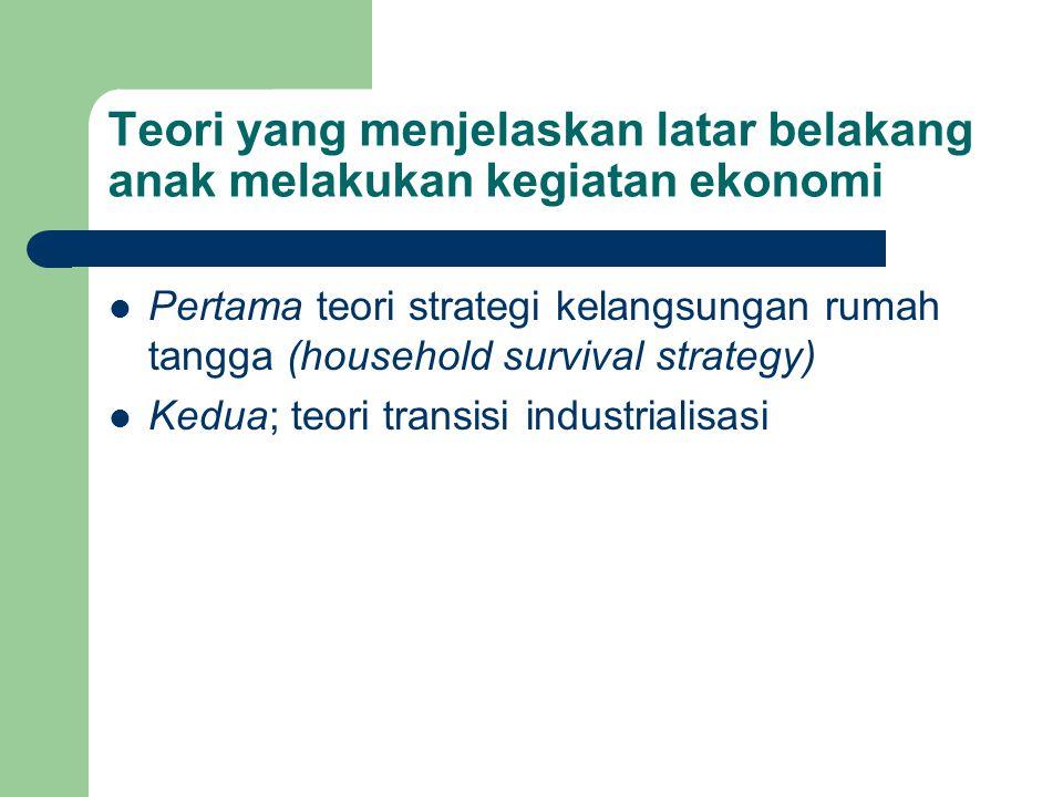 Teori yang menjelaskan latar belakang anak melakukan kegiatan ekonomi Pertama teori strategi kelangsungan rumah tangga (household survival strategy) K