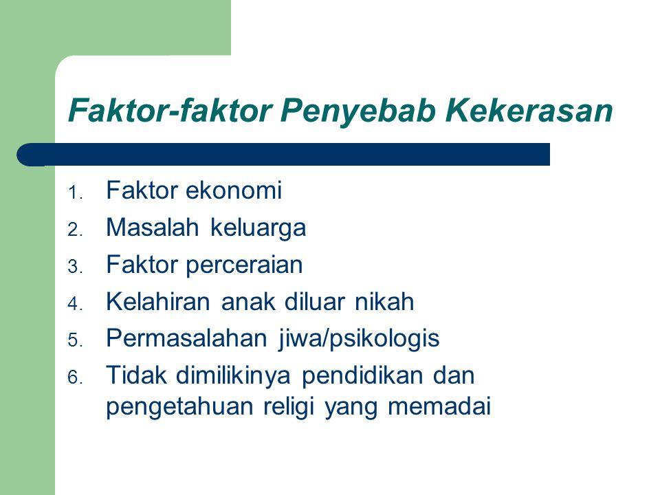 Faktor-faktor Penyebab Kekerasan 1. Faktor ekonomi 2. Masalah keluarga 3. Faktor perceraian 4. Kelahiran anak diluar nikah 5. Permasalahan jiwa/psikol