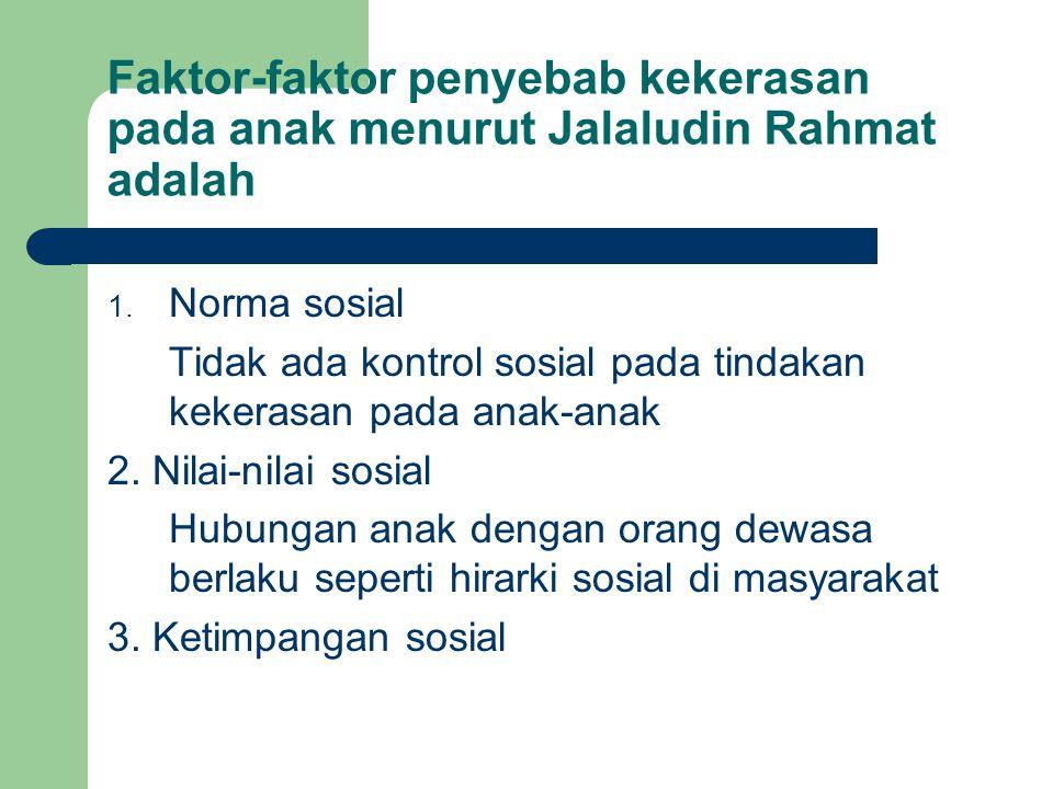 Faktor-faktor penyebab kekerasan pada anak menurut Jalaludin Rahmat adalah 1. Norma sosial Tidak ada kontrol sosial pada tindakan kekerasan pada anak-