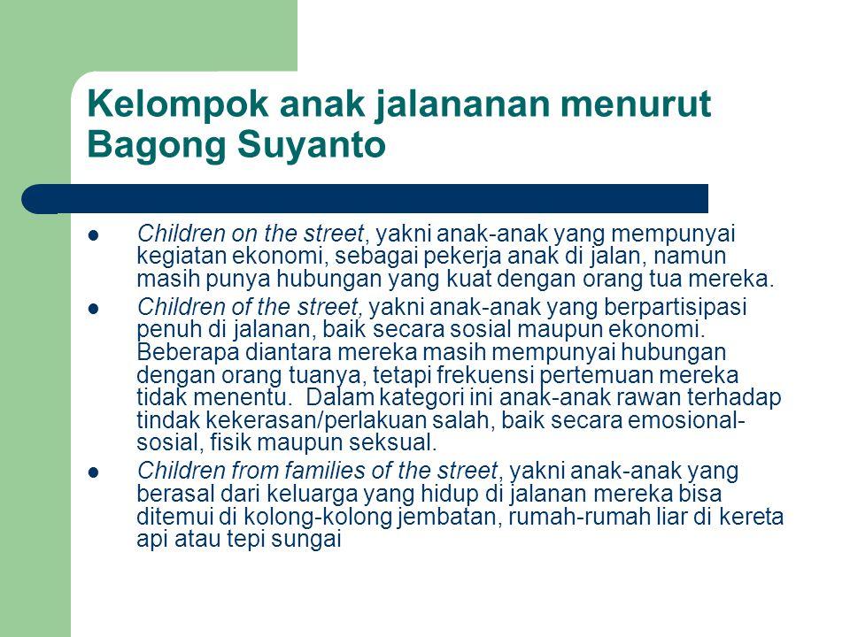 Kelompok anak jalananan menurut Bagong Suyanto Children on the street, yakni anak-anak yang mempunyai kegiatan ekonomi, sebagai pekerja anak di jalan,