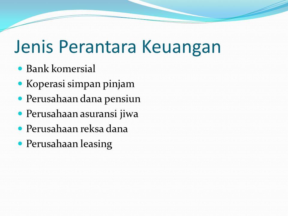 Jenis Perantara Keuangan Bank komersial Koperasi simpan pinjam Perusahaan dana pensiun Perusahaan asuransi jiwa Perusahaan reksa dana Perusahaan leasi