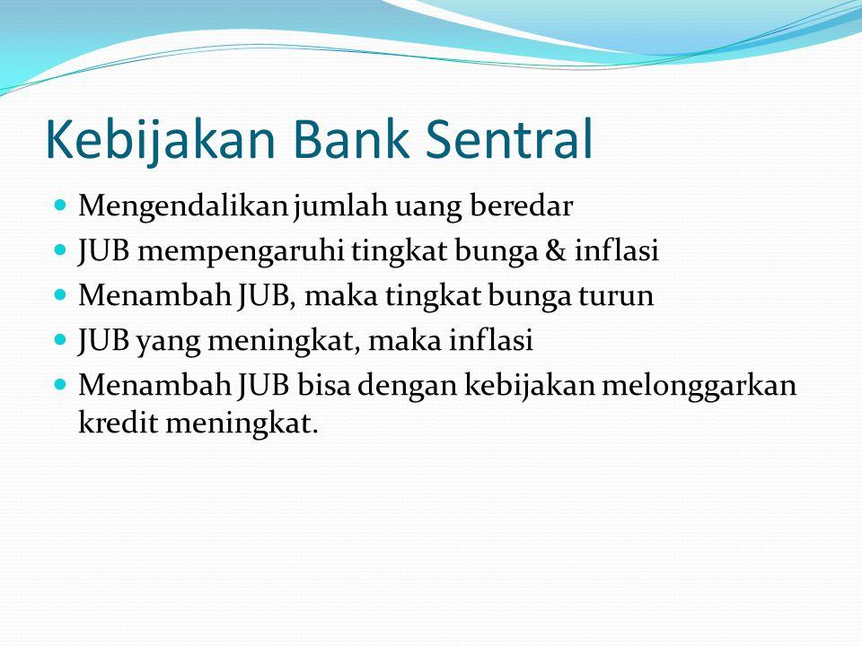 Kebijakan Bank Sentral Mengendalikan jumlah uang beredar JUB mempengaruhi tingkat bunga & inflasi Menambah JUB, maka tingkat bunga turun JUB yang meni