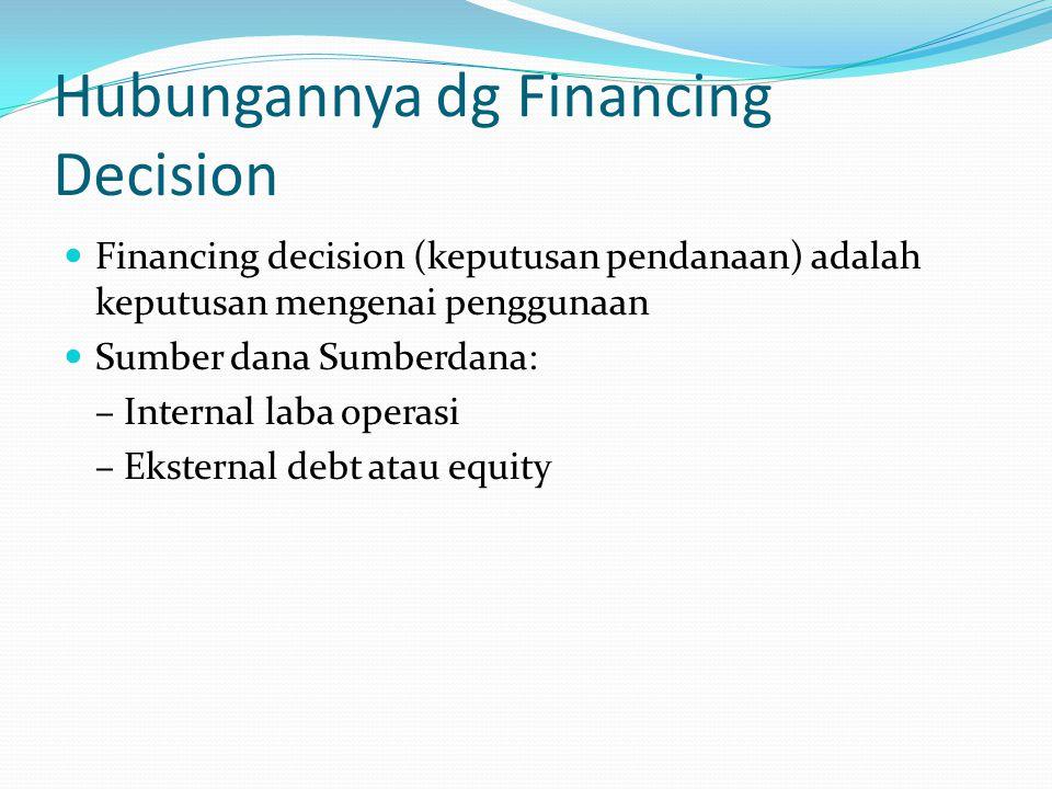 Hubungannya dg Financing Decision Financing decision (keputusan pendanaan) adalah keputusan mengenai penggunaan Sumber dana Sumberdana: – Internal lab