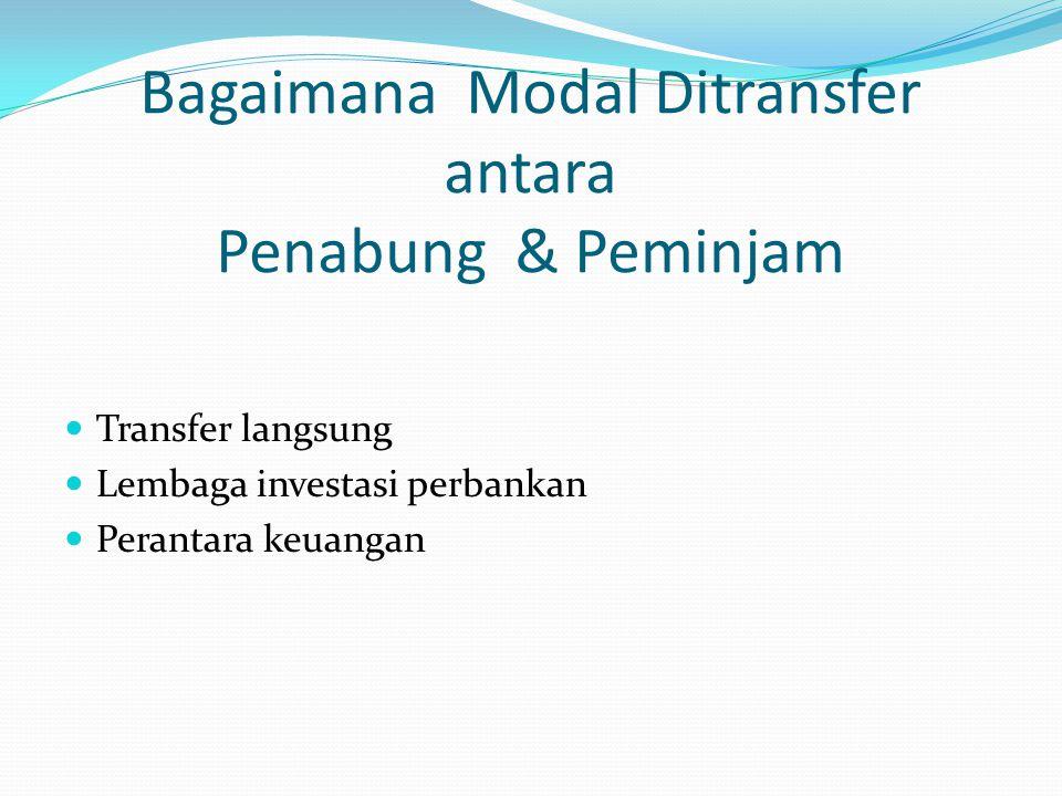 Bagaimana Modal Ditransfer antara Penabung & Peminjam Transfer langsung Lembaga investasi perbankan Perantara keuangan