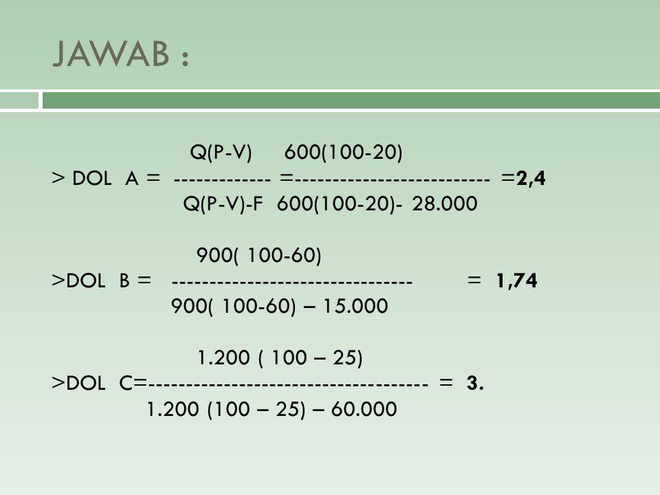 JAWAB : Q(P-V) 600(100-20) > DOL A = ------------- =-------------------------- =2,4 Q(P-V)-F 600(100-20)- 28.000 900( 100-60) >DOL B = ---------------