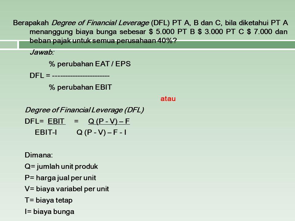 Berapakah Degree of Financial Leverage (DFL) PT A, B dan C, bila diketahui PT A menanggung biaya bunga sebesar $ 5.000 PT B $ 3.000 PT C $ 7.000 dan b