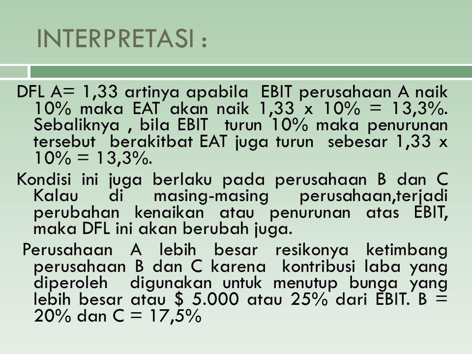 INTERPRETASI : DFL A= 1,33 artinya apabila EBIT perusahaan A naik 10% maka EAT akan naik 1,33 x 10% = 13,3%. Sebaliknya, bila EBIT turun 10% maka penu