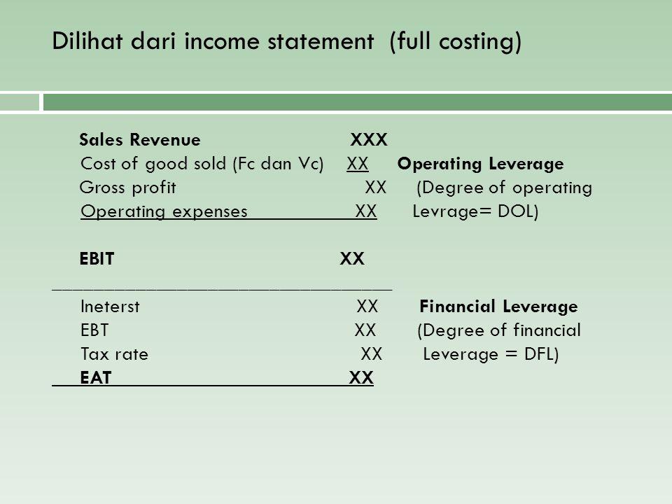 Dilihat dari income statement (full costing) Sales Revenue XXX Cost of good sold (Fc dan Vc) XX Operating Leverage Gross profit XX (Degree of operatin