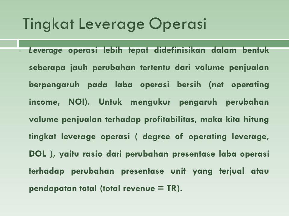 Perhitungan Tingkat Leverage Operasi Secara Aljabar  Tingkat leverage operasi = % perubahan laba operasi (EBIT) % perubahan penjualan Atau Q (P – V) S – VC CM DOL = ----------------- = -------------- = -------- Q (P – V) – F S – VC – F EBIT