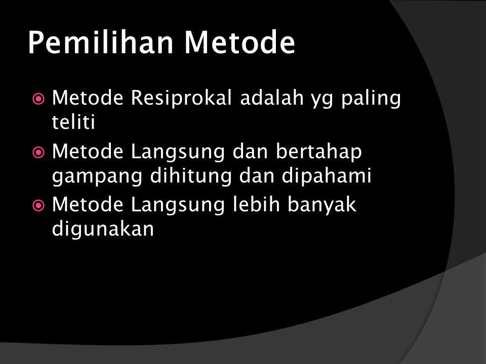 Pemilihan Metode  Metode Resiprokal adalah yg paling teliti  Metode Langsung dan bertahap gampang dihitung dan dipahami  Metode Langsung lebih banyak digunakan