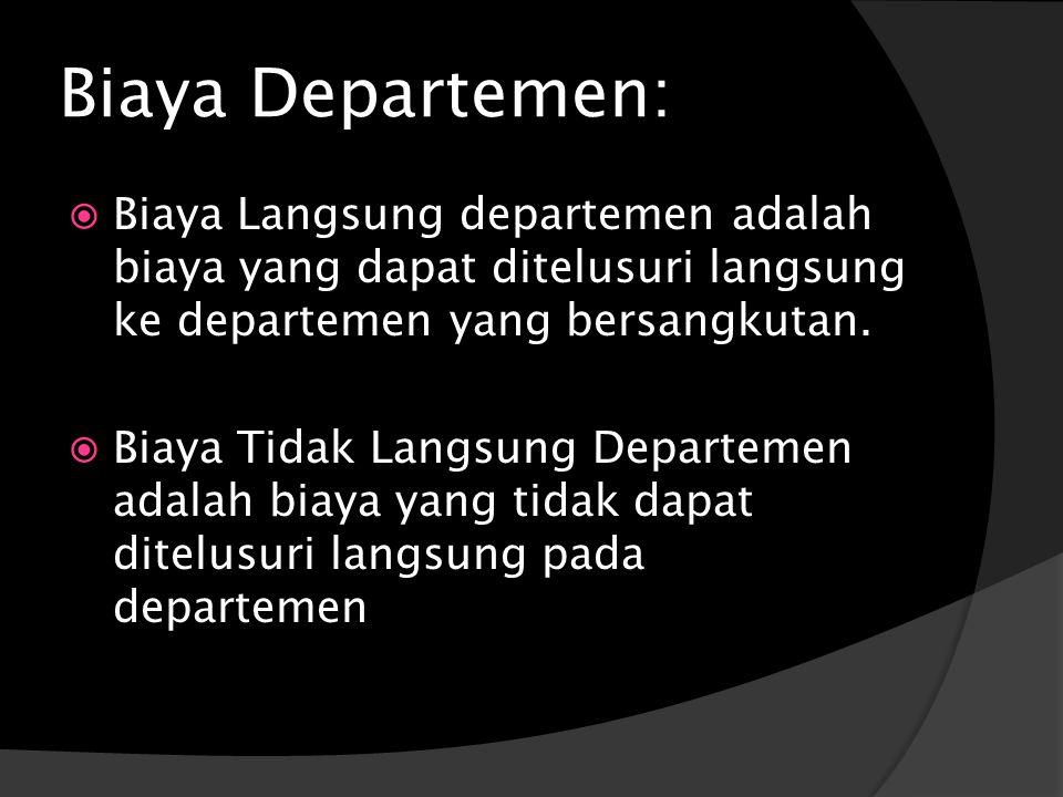 Biaya Departemen:  Biaya Langsung departemen adalah biaya yang dapat ditelusuri langsung ke departemen yang bersangkutan.