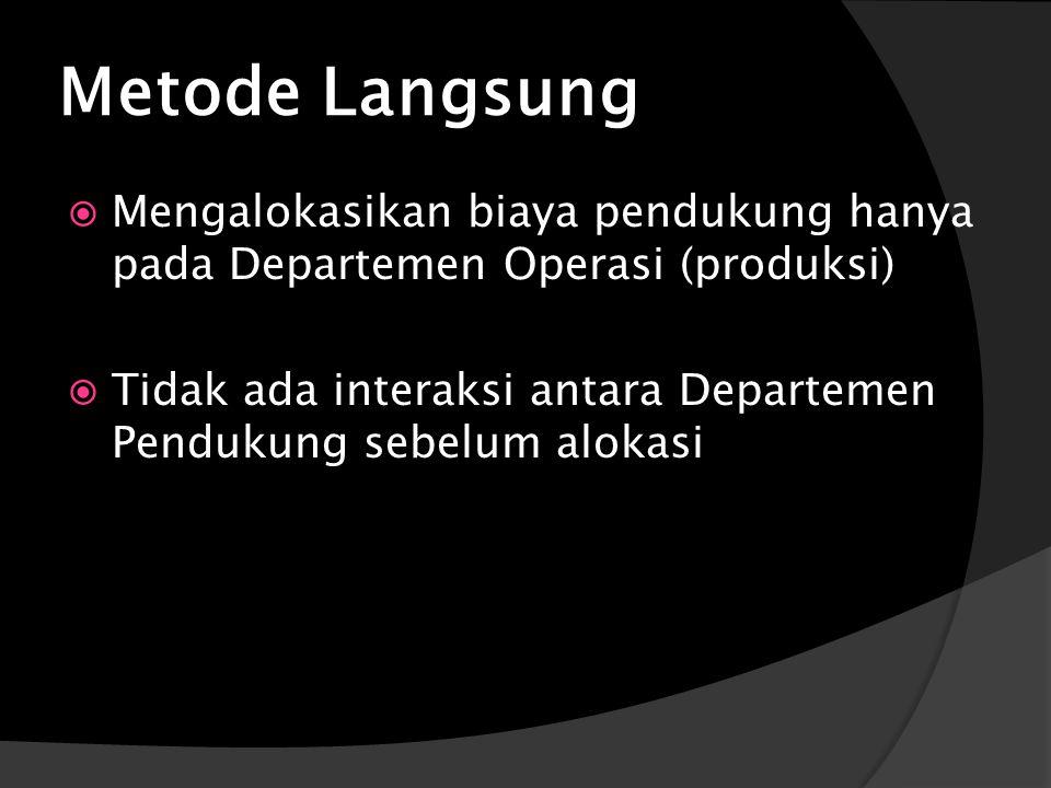 Metode Langsung  Mengalokasikan biaya pendukung hanya pada Departemen Operasi (produksi)  Tidak ada interaksi antara Departemen Pendukung sebelum alokasi