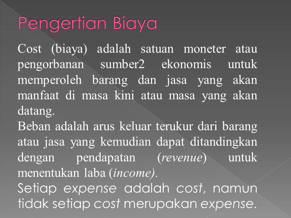 Cost (biaya) adalah satuan moneter atau pengorbanan sumber2 ekonomis untuk memperoleh barang dan jasa yang akan manfaat di masa kini atau masa yang akan datang.