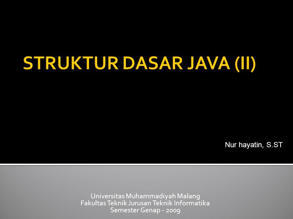 Universitas Muhammadiyah Malang Fakultas Teknik Jurusan Teknik Informatika Semester Genap - 2009 Nur hayatin, S.ST