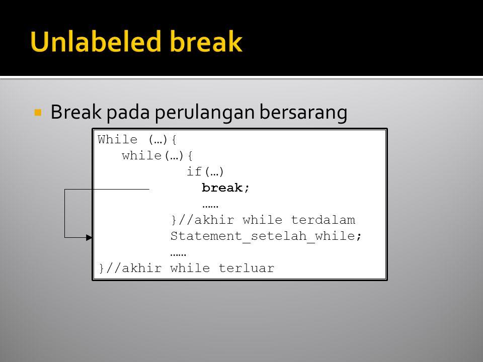  Break pada perulangan bersarang While (…){ while(…){ if(…) break; …… }//akhir while terdalam Statement_setelah_while; …… }//akhir while terluar