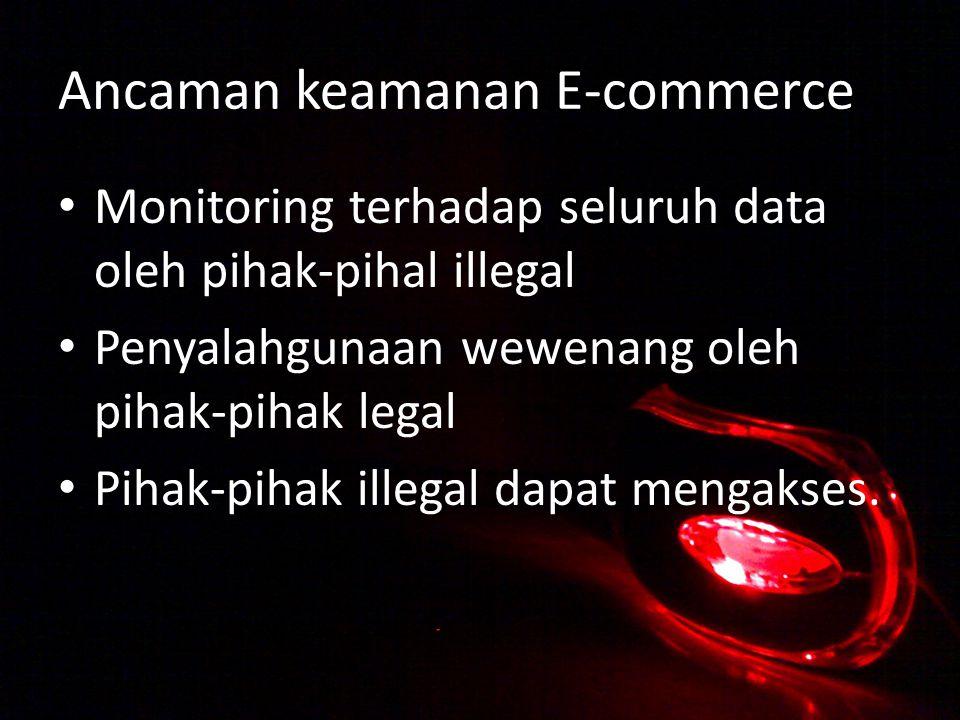 Ancaman keamanan E-commerce Monitoring terhadap seluruh data oleh pihak-pihal illegal Penyalahgunaan wewenang oleh pihak-pihak legal Pihak-pihak illegal dapat mengakses.
