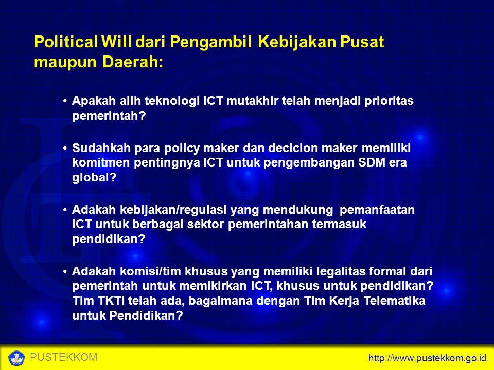 http://www.pustekkom.go.id. PUSTEKKOM Political Will dari Pengambil Kebijakan Pusat maupun Daerah: Apakah alih teknologi ICT mutakhir telah menjadi pr