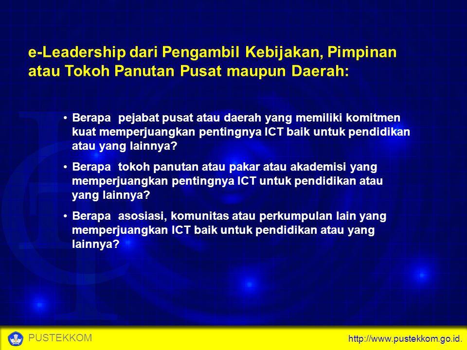 http://www.pustekkom.go.id. PUSTEKKOM e-Leadership dari Pengambil Kebijakan, Pimpinan atau Tokoh Panutan Pusat maupun Daerah: Berapa pejabat pusat ata