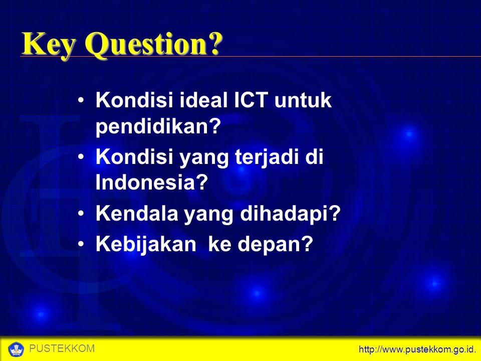 http://www.pustekkom.go.id. PUSTEKKOM Kondisi ideal ICT untuk pendidikan? Kondisi yang terjadi di Indonesia? Kendala yang dihadapi? Kebijakan ke depan